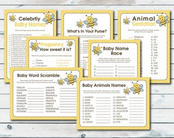 Bumble Bee Baby Shower Games Package, Bee Baby Shower Game Bundle, Bumble Bee Printable Baby Shower Games Package, Baby Shower Game Package