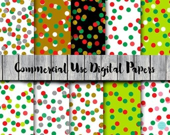 Confetti Christmas Digital Papers, Instant Download Digital Papers, Commercial Use, Scrapbook Digital Papers, Digital Background, DP176