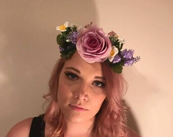 Nymph Queen, flower crown, flower Tiara, hair accessory, floral, wedding
