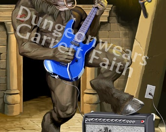 Guitar Minotaur Art Print
