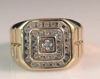 Vintage 10kt YG Diamond Men's Ring 8.7 Grams