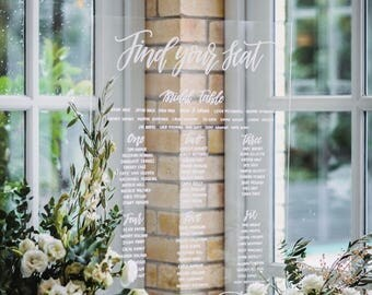 Acrylic Perspex Seating Chart   Seating Plan   Wedding Seating Chart   Find your seat   Willow and Ink   Welcome Acrylic Perspex Sign   Love