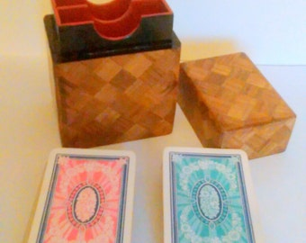 Vintage Japanese marquetry card box, playing card case, parquetry and lacquer