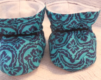 Blue , Navy Fabric, Baby Booties