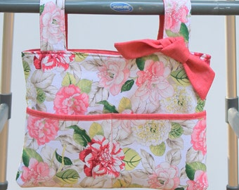 walker bag tote wheelchair bag grandma gift Waverly coral rose floral
