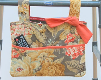 walker bag tote wheelchair bag grandma gift taupe and coral floral fabric