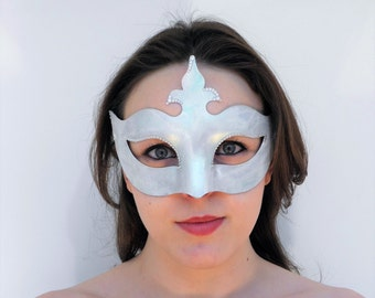 Ice snow queen frozen diamante silver mask with ribbon ties