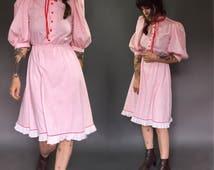 Vintage dba la Ruffle Western Midi Dress