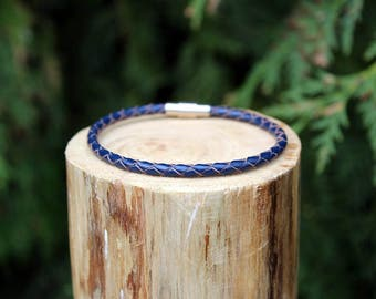 Navy Blue Braided Leather Bracelet, Leather Bracelet, Braided Leather, Braided Bracelet, Navy Blue Leather, Mens Bracelet, Womens Bracelet