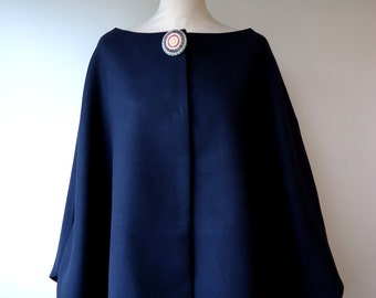 Cape split sleeves Delia fabric Navy Blue peacoat