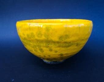 Yellow Raku bowl