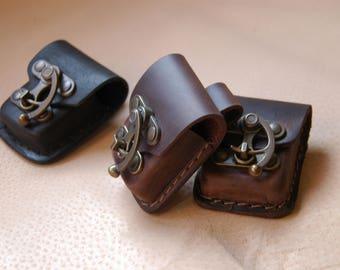 Zippo belt bag, Lighter case, Leather belt bag, Leather hip belt bag, Festival belt bag, Mens belt bag, Zippo pouch, Belt pouch