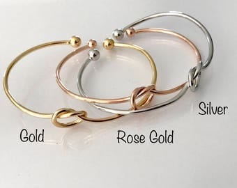 Silver, Gold or Rose Gold Love knot bracelet, tie the knot bangle, bridesmaid knot bracelet, gold love knot bangle, rose gold bracelet