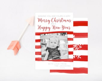 Christmas Holiday Photo Card - Printable - Red and White Stripes - Water Color - Digital Card
