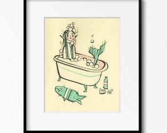 Mermaid Bath Time Art Print 8x10