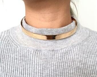 Flat mirrored choker, minimal jewellery