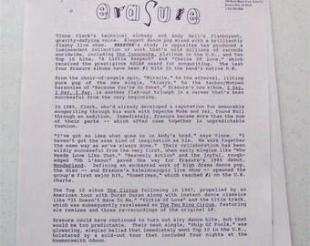 ERASURE 7 pg PRESS KIT Bio 1994 Vince Clark Original Collectable Uk Dance Electronic Depeche Mode New Wave Yazoo