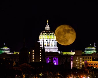 Supermoon over the Pennsylvania State Capitol