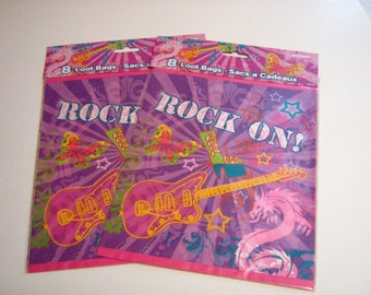 16 Ct. Rock N Roll Loot Bags, 70's Party Treat Bags, Rock N Roll Treat Bags, Rock N Roll Party Bags, Rock N Roll Gift Bags, Music Treat Bags