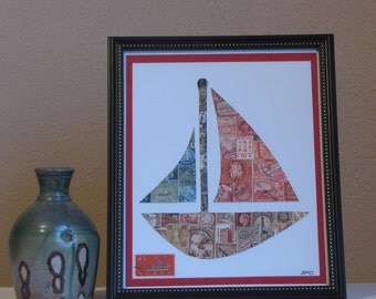 "Sailboat (Notta-Yachta) – Recycled Postage Stamp Art (8""x10"")"