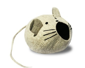 Cat Cave in Cute Mouse Design (XL) complete with Long Mouse Tail for Chewing and Floppy Ears for Kitty to Grab and Play. Great Cat Accessory