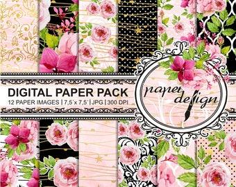 Watercolor digital paper pack - spring digital scrapbooking - watercolor roses flowers - watercolor papers Shabby Chic-gold Foil Bloom - #36