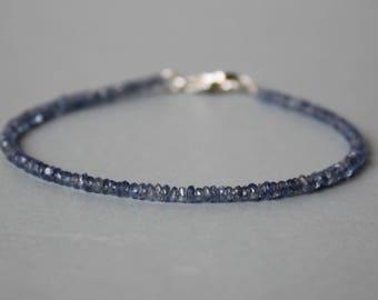 Ultra Thin bracelet Series: Super Skinny Sapphire Bracelet, All Sapphire Bracelet, Dainty Beaded Gemstone Stacking Bracelet, Blue Sapphire