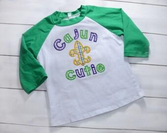 Cajun Cutie Shirt - Fleur de Lis Shirt - Girls Mardi Gras Shirt - Mardi Gras Applique Outfit - Mardi Gras Shirt - Mardi Gras Clothing