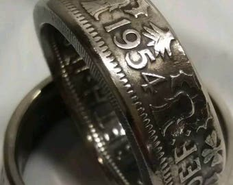 1954 two shilling coin ring