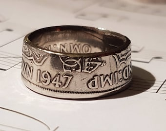Coin Ring Half Crown  - Hand Crafted 1947- Size V
