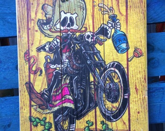 TJ Twin by David Lozeau Official wood art Day of the Dead Biker Motorcycle Tequila style