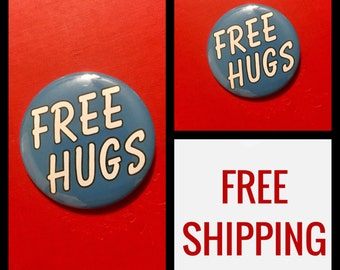 Free Hugs Button Pin, FREE SHIPPING & Coupon Codes