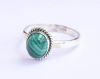 Malachite Ring, Malachite Stone Ring, Silver Ring, Solid Sterling Silver Ring, Sterling Silver Ring,size 3 4 5 6 7 8 9 10 11 12 13