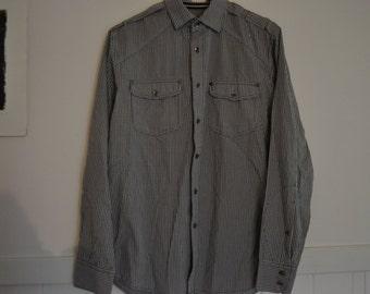 VINTAGE JAG Cotton Shirt Size XS Mens Long sleeve Button down black and white plaid