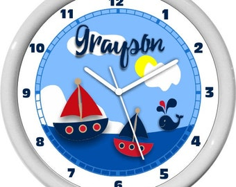 Blue and Red Sail Boats and Whales Nautical Boys Personalized Nursery Wall Clock