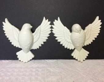 Burwood 1984 Doves, Pair White Plastic Doves Wall Decor