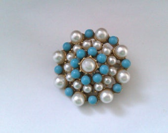 gold coloured blue & white bead brooch