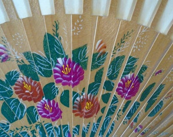 natural bamboo hand painted fan