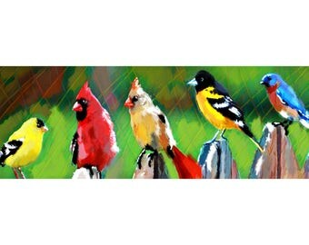 Birds Art Print, Nature art, Colorful Painting