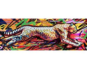 Cheetah Art Print, Wild animal art, Colorful Painting