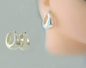HOOPS Big Bold Timeless Chic Flattering Classic Polished 925 Sterling Silver Vintage Pierced Earrings 12.2 grams Free Shipping DrE