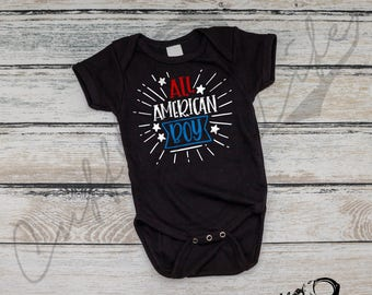 All American Boy Infant Bodysuit / Independence Day / 4th of July Baby / Fourth of July / USA Baby / American Baby / Red White and Blue