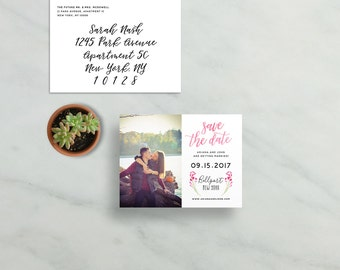 simple modern save the dates // pink watercolor floral sprigs // brush hand lettering calligraphy // PRINTED save the date magnets cards