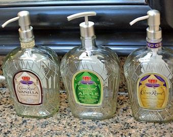 Crown Royal Soap Dispenser / Liquor Bottle Soap Dispenser / Bar Decor / Whiskey Whisky Boyfriend Gift / Vanilla / Apple / Glass Bottle Decor