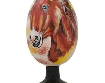 """4.75"""" Majestic Horse Portrait Wooden Easter Egg Figurine- SKU # P-58-120"""