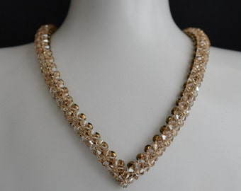"Swarovksi crystal golden shadow crystal necklace ""A la hauteur"""