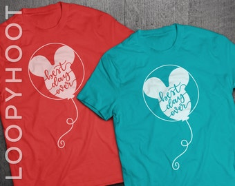 Disney Best Day Ever Balloon T-shirt in Heather Red or Teal - Disney World, Disneyland, Parks, Mouse (Made to Order)