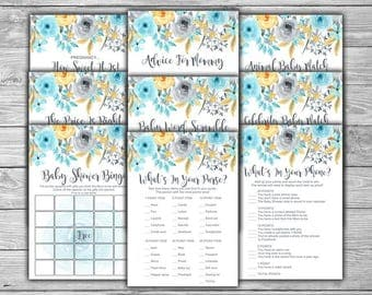 Blue - Floral - Baby Shower - Games Package - Nine Games - PRINTABLE - INSTANT DOWNLOAD - Blue and Grey - Gray - Baby Shower Games - 092
