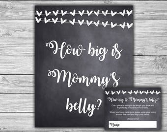 Chalkboard - Baby Shower - How Big Is Mommy's Belly - Game - Sign - Cards - Printable - Instant Download - Chalk - Hearts - 041