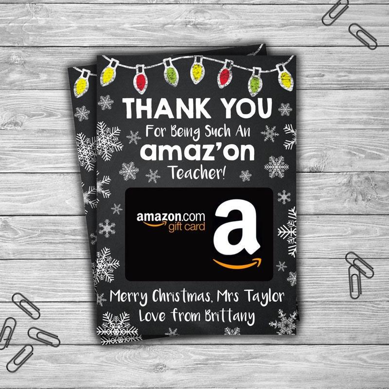 PRINTABLE Amazon Teacher Christmas Gift Card Holder CUSTOM